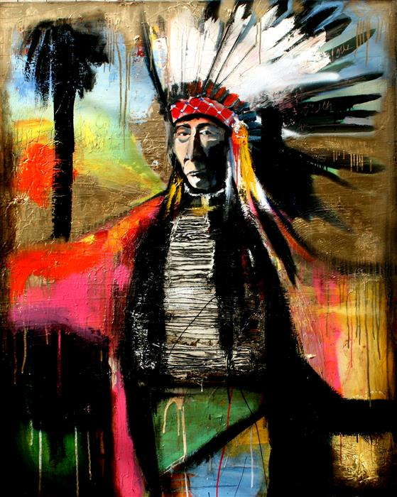 Discover Original Art by Scott Dykema   A Chief and Paradise mixed media artwork   Art for Sale Online at UGallery