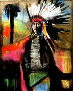 Expressionism art,People art,Western art,Street Art art,Representational art,mixed media artwork,A Chief and Paradise