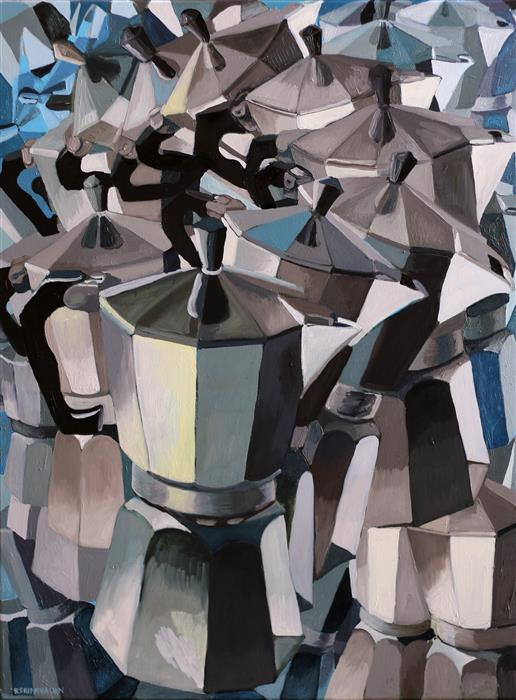 Discover Original Art by Rachel Srinivasan | Blue Coffee oil painting | Art for Sale Online at UGallery
