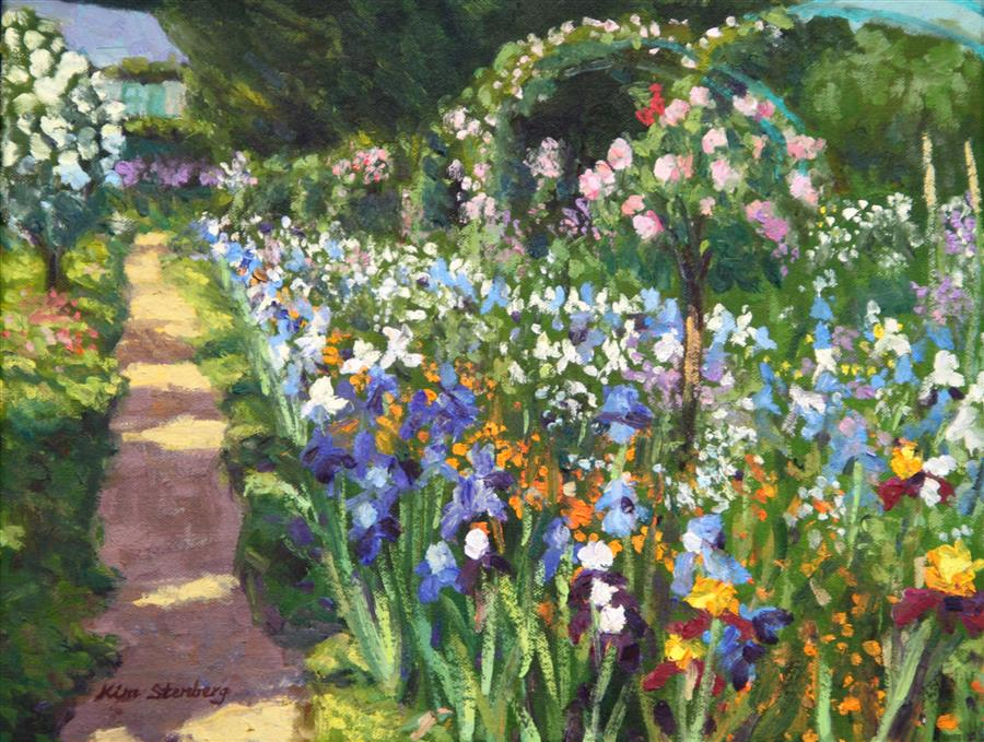 Discover Original Art by Kim Stenberg | Iris Season at Monet's Garden oil painting | Art for Sale Online at UGallery