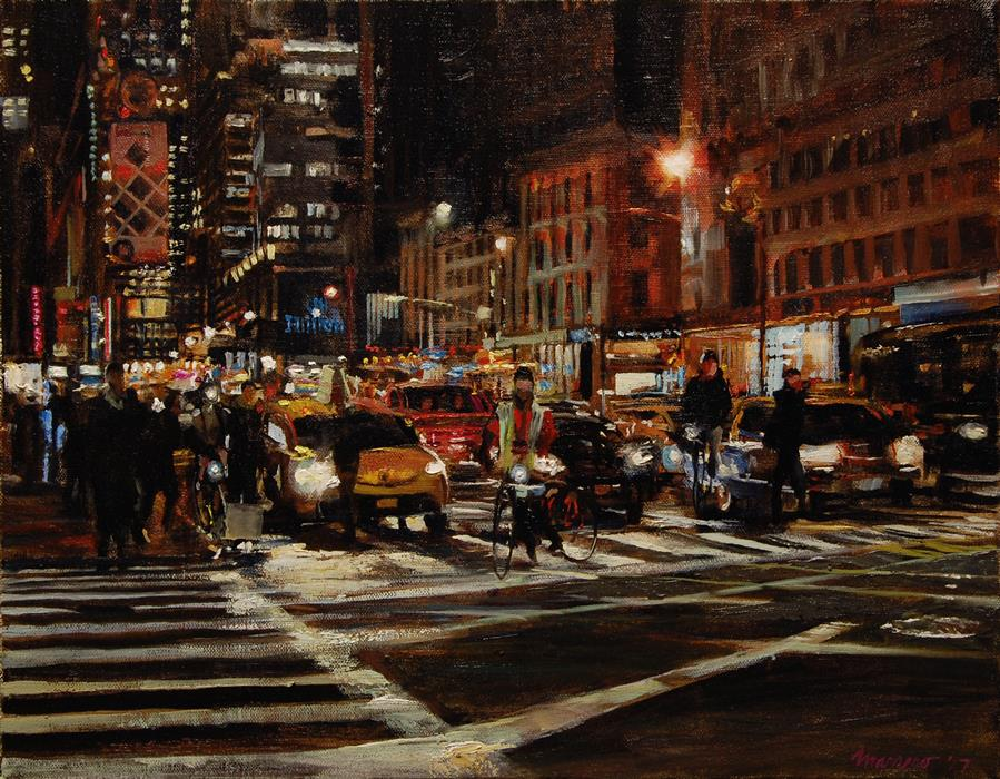 Discover Original Art by Onelio Marrero | The Crossing at 59th and 6th oil painting | Art for Sale Online at UGallery