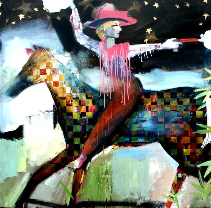 Discover Original Art by Scott Dykema   A Pink Fringe Jacket Bang Bang mixed media artwork   Art for Sale Online at UGallery