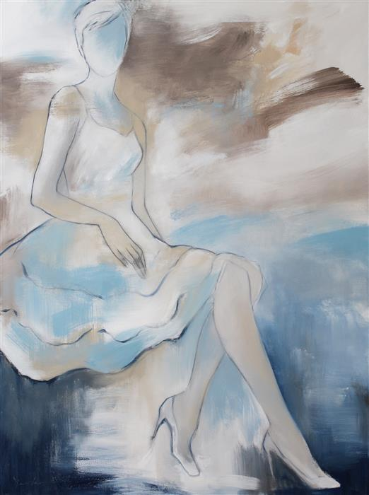 Discover Original Art by Naoko Paluszak | Repose with Aqua oil painting | Art for Sale Online at UGallery
