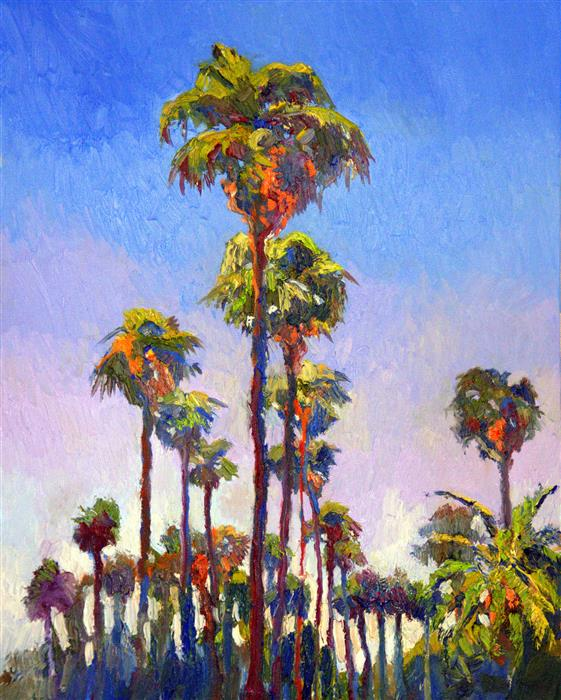 Discover Original Art by Suren Nersisyan   Palm Trees on The Street, (Hollywood, Sunny Day) oil painting   Art for Sale Online at UGallery