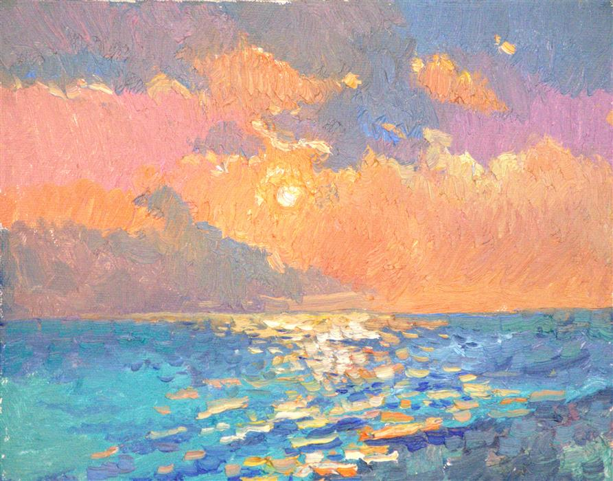 Discover Original Art by Suren Nersisyan   Pacific Ocean (evening, warm light) oil painting   Art for Sale Online at UGallery