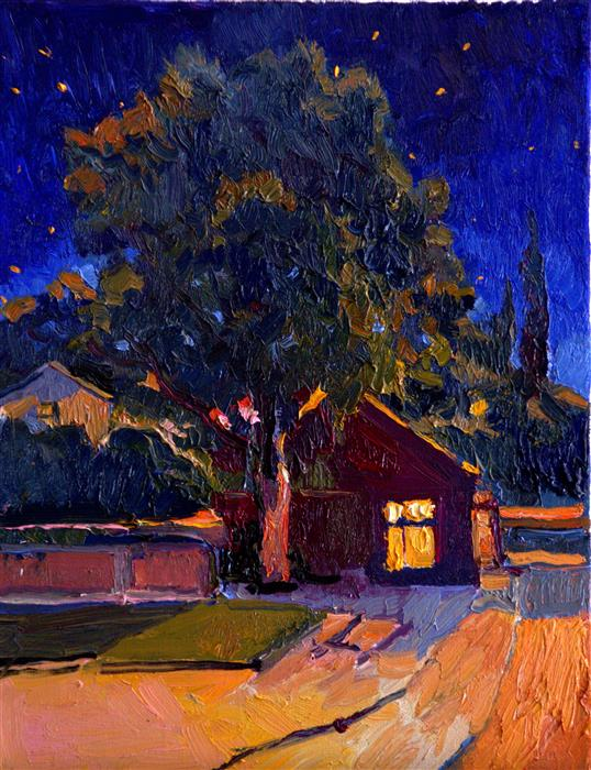 Discover Original Art by Suren Nersisyan   Small House and Big Tree (midnight in burbs) oil painting   Art for Sale Online at UGallery