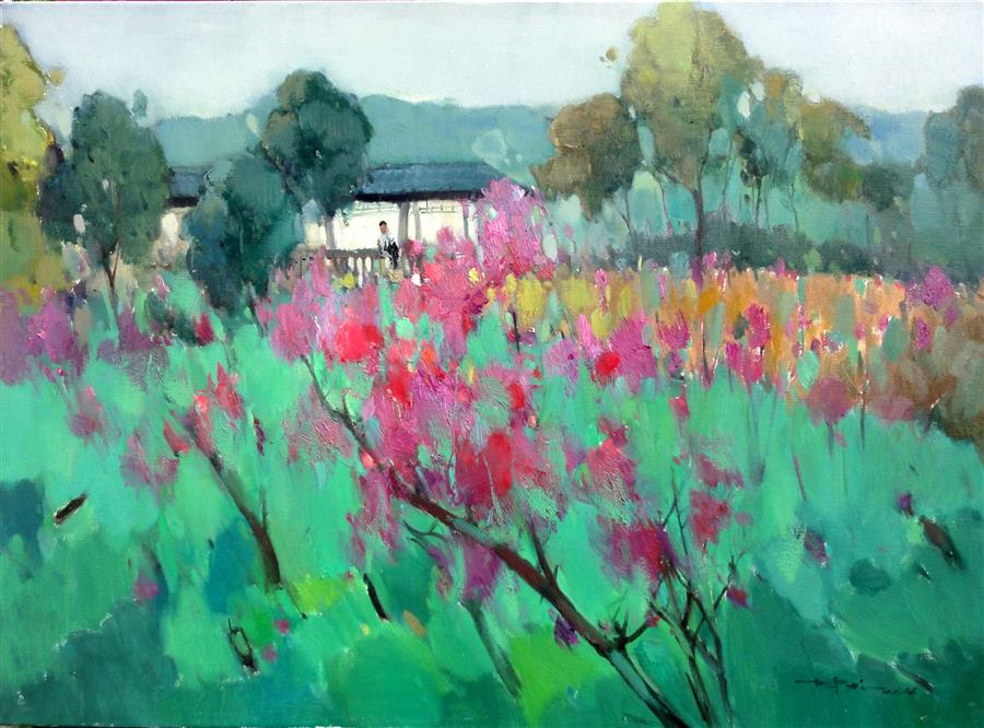 Discover Original Art by Jingshen You | Spring in the Garden oil painting | Art for Sale Online at UGallery