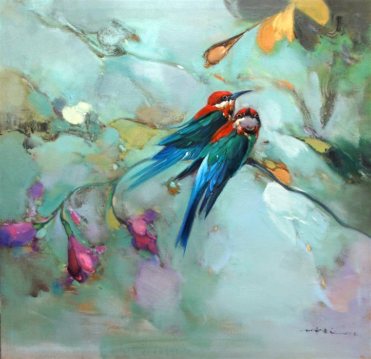 Discover Original Art by Jingshen You | Little Birds and Flowers oil painting | Art for Sale Online at UGallery
