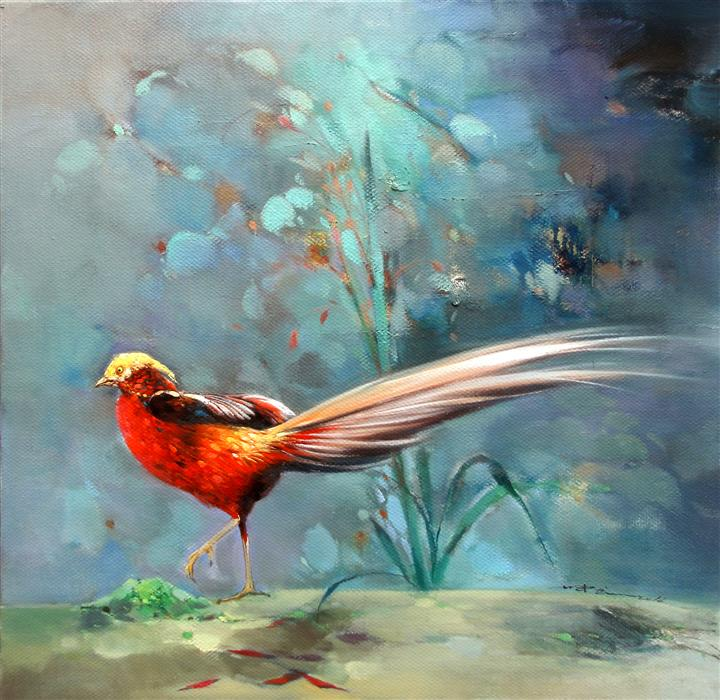 Discover Original Art by Jingshen You | Pheasant oil painting | Art for Sale Online at UGallery
