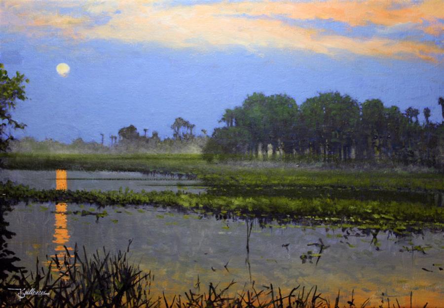 Discover Original Art by Kent Sullivan   Everglades Dusk oil painting   Art for Sale Online at UGallery