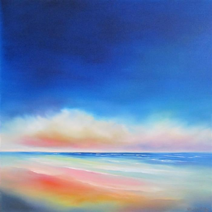 Original art for sale at UGallery.com | Bright Morning Beach by NANCY HUGHES MILLER | $725 | Oil painting | 20' h x 20' w | http://www.ugallery.com/oil-painting-bright-morning-beach