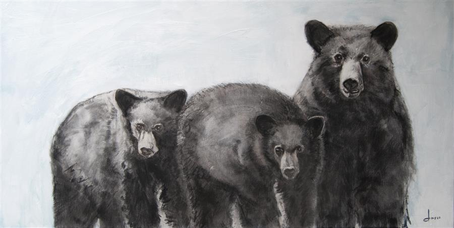 Discover Original Art by Anne Dosso-Powell | My Three Bears 2 oil painting | Art for Sale Online at UGallery