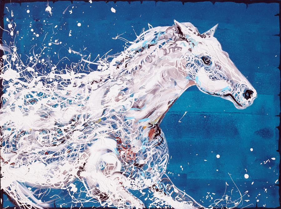 Discover Original Art by Piero Manrique | Caballo Blanco acrylic painting | Art for Sale Online at UGallery