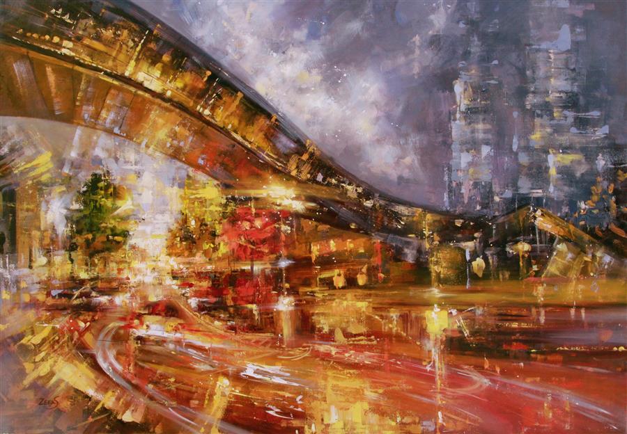 Discover Original Art by Sandra Zekk | Fire Night oil painting | Art for Sale Online at UGallery