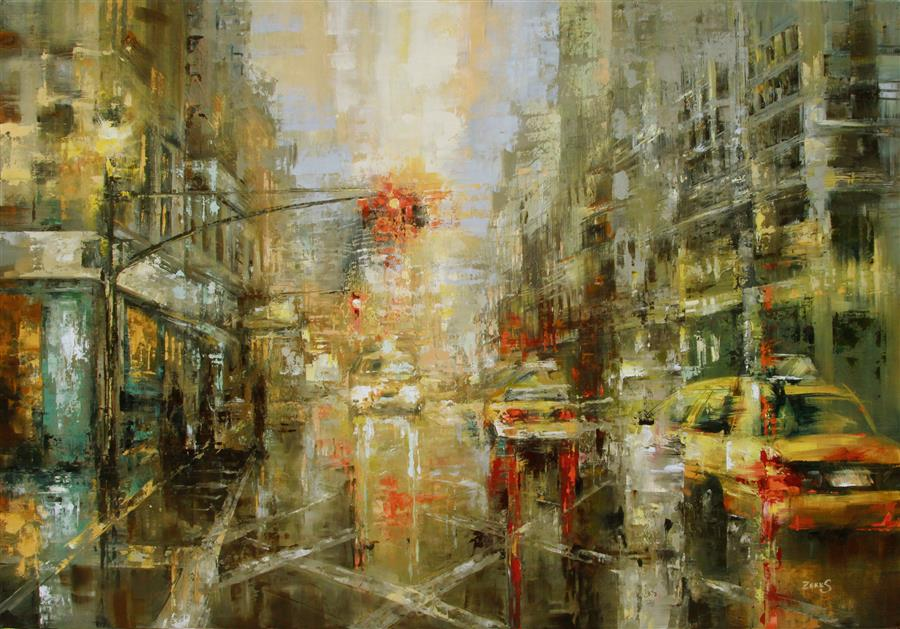 Discover Original Art by Sandra Zekk | Yellow Cabs oil painting | Art for Sale Online at UGallery