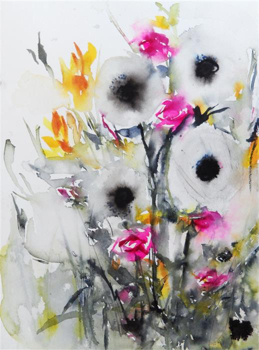 Discover Original Art by Karin Johannesson   Dark Blooms IV watercolor painting   Art for Sale Online at UGallery