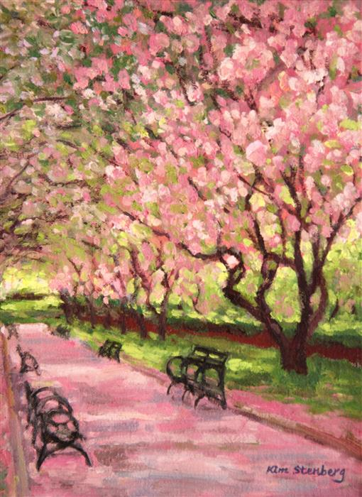 Discover Original Art by Kim Stenberg | Central Park Spring oil painting | Art for Sale Online at UGallery