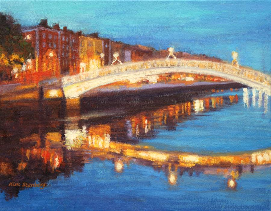 Discover Original Art by Kim Stenberg | Dublin Liffey Bridge Nocturne oil painting | Art for Sale Online at UGallery