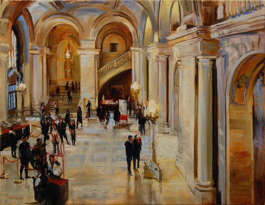 Discover Original Art by Onelio Marrero | Astor Hall New York Public Library oil painting | Art for Sale Online at UGallery