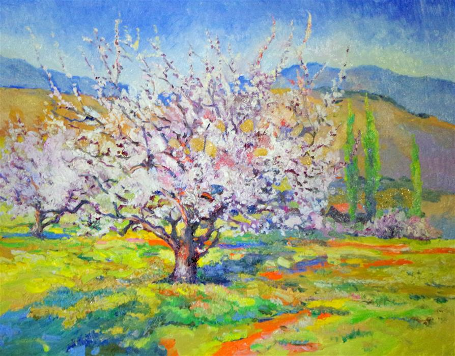 Discover Original Art by Suren Nersisyan   Blossom of Apricot Tree, Spring Landscape oil painting   Art for Sale Online at UGallery