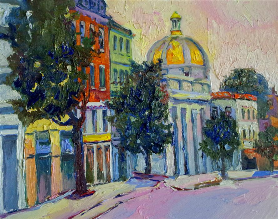 Discover Original Art by Suren Nersisyan   Georgetown before Sunrise oil painting   Art for Sale Online at UGallery