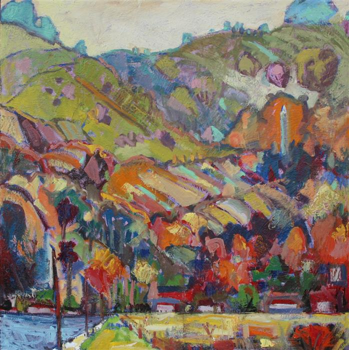 Discover Original Art by James Hartman | Berkeley Campanile from the Marina oil painting | Art for Sale Online at UGallery
