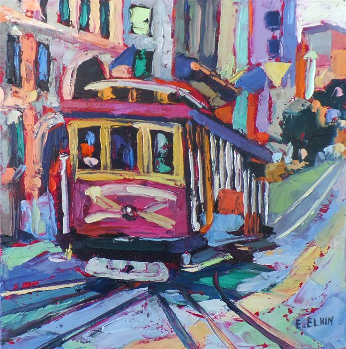 Discover Original Art by Elizabeth Elkin | Cable Car oil painting | Art for Sale Online at UGallery