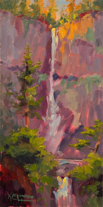 Discover Original Art by Karen E Lewis | Multnomah Falls Catchlight oil painting | Art for Sale Online at UGallery