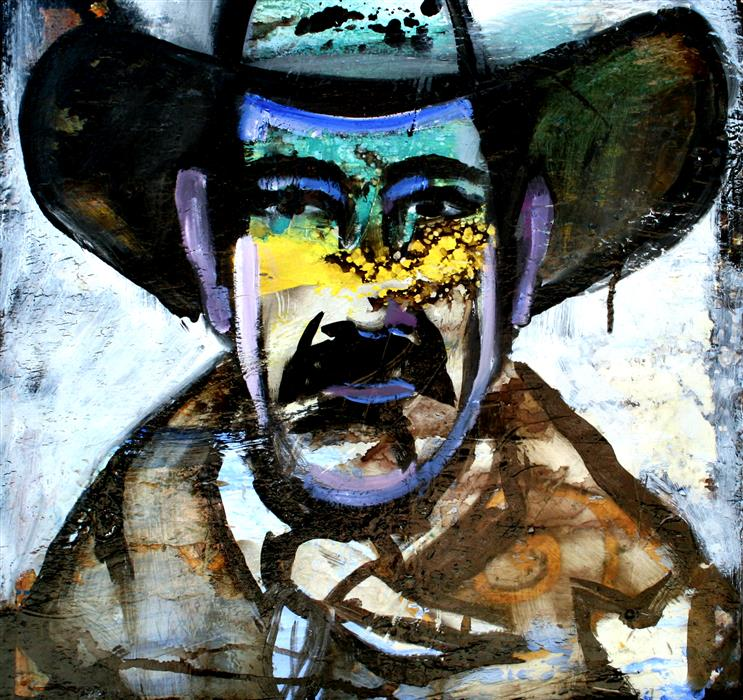 Discover Original Art by Scott Dykema   A Cowboy Number 4 mixed media artwork   Art for Sale Online at UGallery