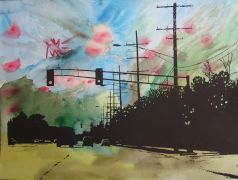 Discover Original Art by Maria Dimanshtein | Roadtrip 4 watercolor painting | Art for Sale Online at UGallery