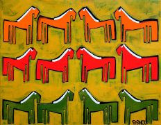Original art for sale at UGallery.com | Twelve Ponies by Jessica JH Roller | $700 | acrylic painting | http://www.ugallery.com/acrylic-painting-twelve-ponies