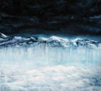 Original art for sale at UGallery.com | Where Ice Meets Sky IV (Night) by Sarah Beth Goncarova | $2,725 | oil painting | http://www.ugallery.com/oil-painting-where-ice-meets-sky-iv-night