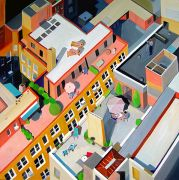Original art for sale at UGallery.com | Manhattan Rooftops by Toni Silber-Delerive | $3,275 | oil painting | http://www.ugallery.com/oil-painting-manhattan-rooftops