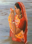 Original art for sale at UGallery.com | Praying to Surya by Patricia Freeman | $500 | acrylic painting | http://www.ugallery.com/acrylic-painting-praying-to-surya