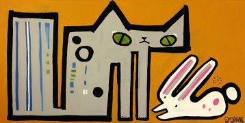 Original art for sale at UGallery.com | Bunny and Bunny by Jessica JH Roller | $1,025 | acrylic painting | http://www.ugallery.com/acrylic-painting-bunny-and-bunny
