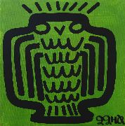 Original art for sale at UGallery.com | Owl on Green by Jessica JH Roller | $150 | acrylic painting | http://www.ugallery.com/acrylic-painting-owl-on-green
