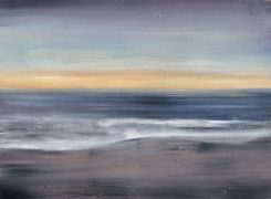 Original art for sale at UGallery.com | Ocean Beach, Twilight by Sarah Beth Goncarova | $700 | oil painting | http://www.ugallery.com/oil-painting-ocean-beach-twilight